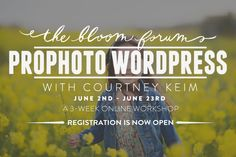 Courtney Keim is back with her new Prophoto Wordpress Workshop!  Learn how to create a customized self-hosted, Prophoto 5 theme based WordPress site you can use either for business or personal photography journeys.  More details on the blog:  http://www.everythingbloom.com/prophoto-wordpress-workshop-with-courtney-keim-2