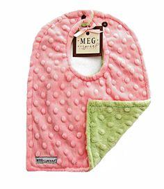 Pink & Green Reversible Minky Dot Bib-baby girl, baby, infant, toddler, reversible, adjustable, boutique, san diego, southern california, new, drool, feeding, nursing, layette, meg, meg original, girlie, minkee, dimple, cuddle, dots, sage, soft, preemie, premature baby, delicate, gift, baby shower