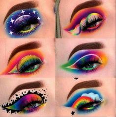 Crazy Eye Makeup, Edgy Makeup, Creative Makeup Looks, Eye Makeup Art, Beautiful Eye Makeup, Colorful Eye Makeup, Fairy Makeup, Cute Makeup, Mermaid Makeup