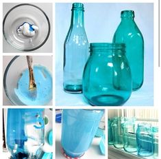How to Dye Clear Glass ANY Color You will need: Clean jar, Mode Podge or White Elmers' glue, Paint Brush, Food coloring Start with a clean jar. Combine 1 tsp of glue, 3 drops of food. Painting Glass Jars, Painted Glass Bottles, Painted Jars, Bottles And Jars, Glass Vase, Wine Bottle Crafts, Jar Crafts, Bottle Art, Crafts With Glass Jars