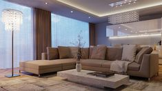 Enjoyable Neutral L Shaped Living Sofas And Low Long Rectangle Cocktail Table In Modern Large Space Living Room Idea