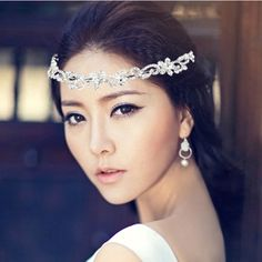 Korean rhinestone flowers  queen crown tiara head accessories wedding $20.48