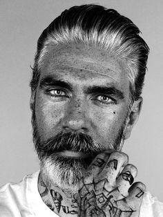beautiful face and look. Tattoo Photography, Portrait Photography, White Photography, Salt And Pepper Hair, Beard Tattoo, Beard No Mustache, Black And White Portraits, Hair And Beard Styles, Interesting Faces
