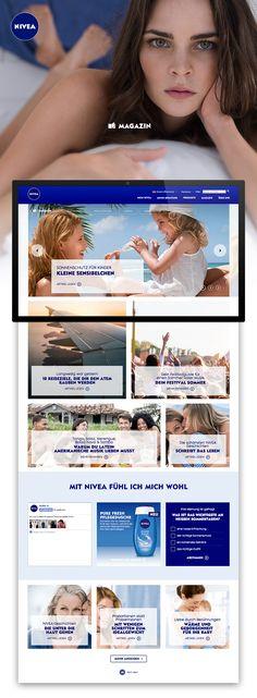 Konzept, Design, Umsetzung und Vollständige redaktionelle Betreuung des ersten online Magazines von Nivea. Nivea, Online Magazine, Filters, Marketing, Design, Concept