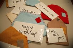 play mailman with these felt envelopes and little laminated notes.  or just use junk mail. :)