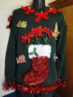51 Ugly Christmas Sweater Ideas So You Can Be Gaudy and Festive Getting ready for your themed Christmas party? Then you need to look at our selection of ugly Christmas sweater ideas to make you really stand out. Ugly Sweater Day, Ugly Sweater Contest, Diy Ugly Christmas Sweater, Xmas Sweaters, Christmas Outfits, Christmas Stocking, Christmas Ideas, Xmas Shirts, Holiday Ideas