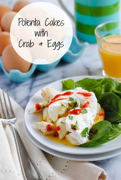 Polenta Cakes with Crab & Eggs - A simple yet special brunch dish made with just a few great ingredients. #BrunchWeek