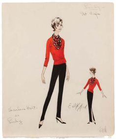 Edith Head sketch for Charlene Holt in Red Line 7000 (1965)