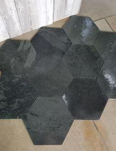 "Brazillian Black Slate 8"" Hexagon Tiles with a Sealer Enhancer Applied Shower Pan, Slate Flooring, Hexagon Tiles, Simple Shapes, Tile Patterns, Craftsman, Bathroom Ideas, Tile Floor, Popular"
