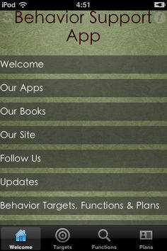 Amazing what our phones can do now- Behavior Support for Autism and Special Education ($0.00) provides information for parents, caretakers and educators of children who need positive methods to support behavior. This tool aims to give users a starting point in labeling target behaviors, identifying functions or motivations for the behaviors and developing behavior support plans.