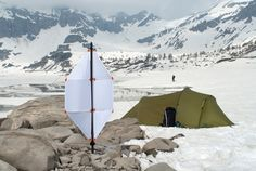 the foldable micro wind-turbine weighs less than 1kg and allows you to charge your portable USB devices far from civilization.
