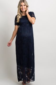 PinkBlush Blue Lace Mesh Overlay Plus Maxi Dress Maternity Evening Gowns, Maternity Maxi, Pink Blush Maternity, Maternity Fashion, Maternity Style, Navy Lace, Blue Lace, Mommy Style, Lace Overlay