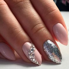 21 Ideas of Sweet Nude Nails With Glitter That Every Girl Will Love ❤ Best Ideas for Nude Nails with Rhinestones picture 2 ❤ Nude nails with glitter is that perfect combination that can suit any occasion – be it a day at the office or a fancy party to attend. https://naildesignsjournal.com/sweet-nude-nails-with-glitter/ #naildesignsjournal #nails
