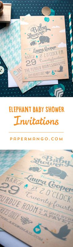 A mama and baby elephant, fat little typography, a fashionable houndstooth patterned backer, vintage textures, and playful fonts make this baby shower one of a kind. $1.54+ from Paper Mango #elephant #baby #shower #invitations
