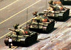 Tianamen square tank man. An iconic image of David and Goliath.
