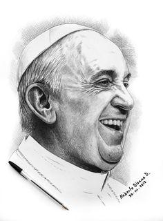 Papa Francisco #dibujo por el chileno, Roberto Antonio Bizama Diaz, hecho con un boli #bic