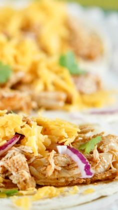 This Copycat Recipe For Cafe Rio Crock Pot Chicken Tacos Makes Super Flavorful And Easy Tacos Your Family Will Love! A Great No Prep Crockpot Dump Recipe! Crockpot Dump Recipes, Healthy Taco Recipes, Chicken Taco Recipes, Chicken Tacos, Slow Cooker Recipes, Mexican Food Recipes, Cooking Recipes, Healthy Tacos, Crockpot Ideas