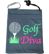 "This fun tee bag is 4.5"" x 5.5"". The front and back say ""Golf Diva"". It has a drawstring and a clip to hang on your bag. It is made of micro-fiber material and comes with 4 giggle tees. A great gift or tournament prize."