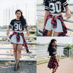 Great way to wear a cropped athletic tee