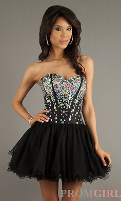 Corset Style Strapless Baby Doll Dress by Alyce Paris 3576 at PromGirl.com