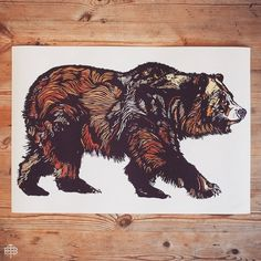 - WALKING BEAR - LIMITED EDITION A2 PRINT - EDITION OF 50