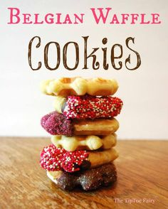 Belgian Waffle Cookies - rich and butter. A perfect holiday cookie for gift giving. And this recipe will make a ton! ~From The TipToe Fairy Cookie Recipes, Gourmet Recipes, Sweet Recipes, Dessert Recipes, Freezer Recipes, Freezer Cooking, Dessert Ideas, Drink Recipes, Yummy Recipes