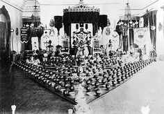The throne room in Iolani Palace in readiness for the King Kalakaua Jubilee of 1886.