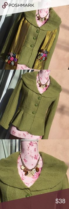 """Valerie Bertinelli crop long sleeve peplum jacket 100% wool, approx 21"""" long, bust 18', waist is 33'. Sleeves, 22""""....this is sooo cute with many a style scarf, jewelry to change it up and have fun Valerie Bertinelli Jackets & Coats"""