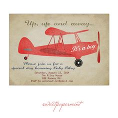 Vintage Red Airplane Baby Shower invitation Card Printable Digital - Customizable on Etsy, $15.00