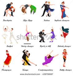 Dancing People young man and woman Dancer Bachata Hiphop, Salsa, Indian Ballet Strip, Rock and Roll Break, Flamenco Tango Contemporary Belly Pictogram Dance style concept for studio class banner flyer