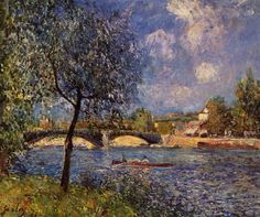 Rowers Artist: Alfred Sisley Completion Date: 1877 Style: Impressionism Genre: landscape Technique: oil Material: canvas Gallery: Private Collection Tags: forests-and-trees, bridges-and-canals