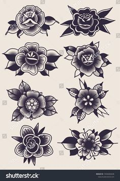 Find Vector Black Flowers Traditional Tattoo Designs stock images in HD and millions of other royalty-free stock photos, illustrations and vectors in the Shutterstock collection. Thousands of new, high-quality pictures added every day. Traditional Heart Tattoos, Traditional Tattoo Drawings, Traditional Black Tattoo, Traditional Tattoo Flowers, Traditional Roses, Traditional Tattoo Design, American Traditional Rose, Traditional Flash, Traditional Styles