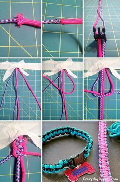 Dogs DIY braided dog collar video instructions - Create a braided dog collar using paracord for durability. We'll show you how to weave a durable collar in any size for your stylish furry friend. Diy Dog Collar, Collar And Leash, Dog Collars, Dog Crafts, Animal Crafts, Diy Tresses, Diy Collier, Diy Dog Toys, Homemade Dog Toys