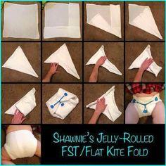 Flour sack towel kite fold cloth diaper