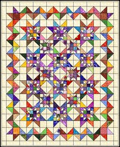 """MaDan's Quilting...add one more row to make 4 stars by 4 stars...4"""" blocks...88""""...add borders"""