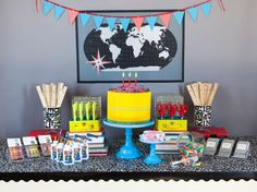 """Back-To-School party using all school supplies!! Wouldn't the kiddos love this?! Great tutorial on how to make the """"cake"""" & other display items"""