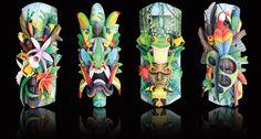 The Rainforest Masks of Costa Rica return to Selby Gardens in Sarasota Florida… Amor Tattoo, Chic Beach House, Costa Rica, Tiki Art, Polymer Clay Animals, Masks Art, Beautiful Mask, Botanical Gardens, Hand Carved