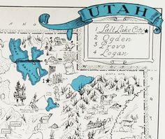 Utah  Vintage Map of Utah   A Fun and Funky by StoriesDivinations, $21.00