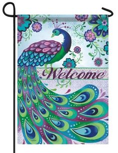 """Purple, green and blue Peacock garden flag by Steve Haskamp. The matching floral patterns add the perfect artistic flair to this gorgeous design. The """"""""Welcome"""""""" message reads correctly from both side Peacock Quilt, Peacock Decor, Peacock Colors, Peacock Art, Peacock Theme, Peacock Feathers, Peacock Crafts, Vibrant Colors, Peacock Pictures"""