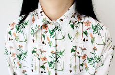 Fine Art Collection hand painting floral spring shirt
