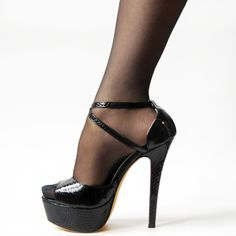 ZriEy Cross-Strap Peep-Toe Stilettos Black Crocodile PU
