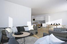 Scandinavian Studio Apartment - open plan living dining in monochrome and slate palette