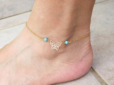 Holiday SALE - Gold butterfly anklet, Gold turquoise anklet by SarittDesigns on Etsy