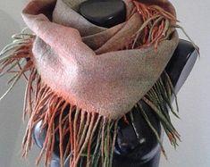 Snood Cowl neck scarf with fringes Dread cowl neck  spring snood nuno felt scarf Double loop scarf infinity cowl Grey infinity scarf silk #nunofelt #nunofeltscarf #Vinokurova