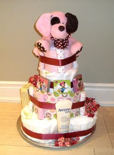 Baby Girl Diaper Cake Baby Gift Baby Shower by AngelsBabyBaskets