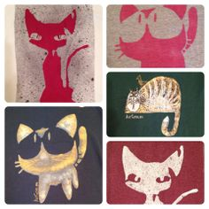 Hand-painted tops with stencil cats