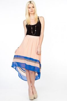 Pink and blue high-low skirt