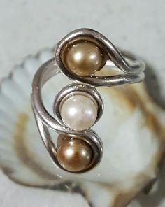 Anillo plata 925 con perlas oro y blanca