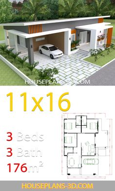 Home Design with 3 bedrooms slop roof - House Plans Hip Roof Design, Modern Roof Design, House Front Design, Small House Design, House Layout Plans, My House Plans, Modern House Plans, House Layouts, Small House Plans