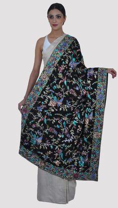 Masterpiece Black Parsi Gara Hand Embroidered Pure Pashmina Shawl Designer Dress For Men, Indian Designer Wear, Designer Dresses, Indian Dresses, Indian Suits, Kashmiri Shawls, Embroidery Saree, Pashmina Shawl, Saree Blouse Designs